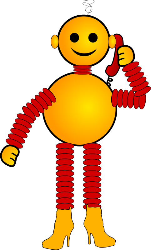 Robot by russel - A yellow and red robot talking on the phone.
