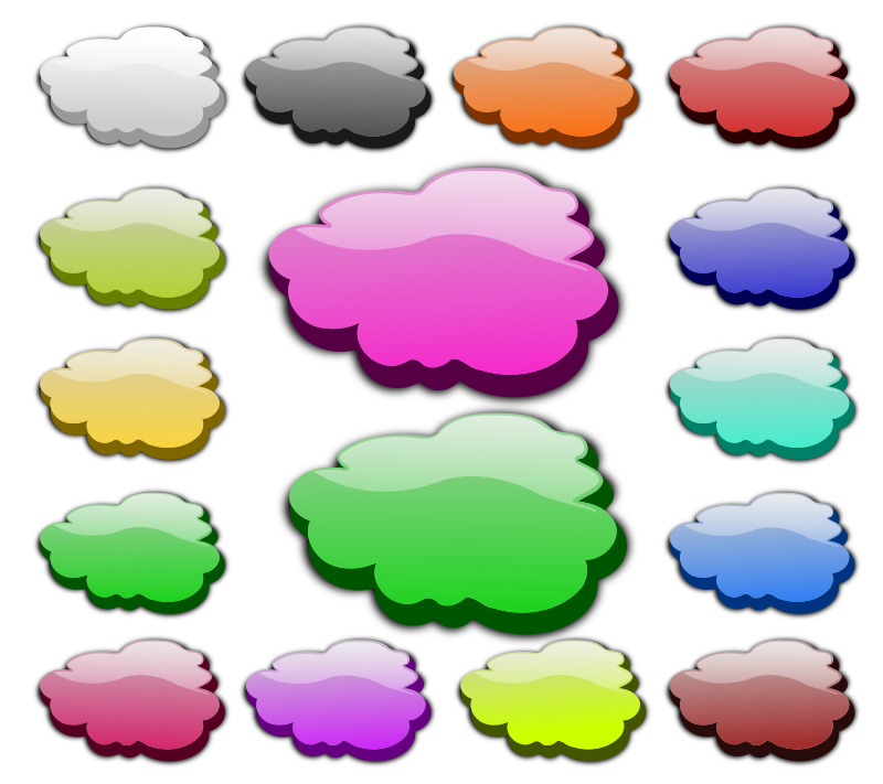 3D Clouds by inky2010 - Glossy, glowing vector clouds.
