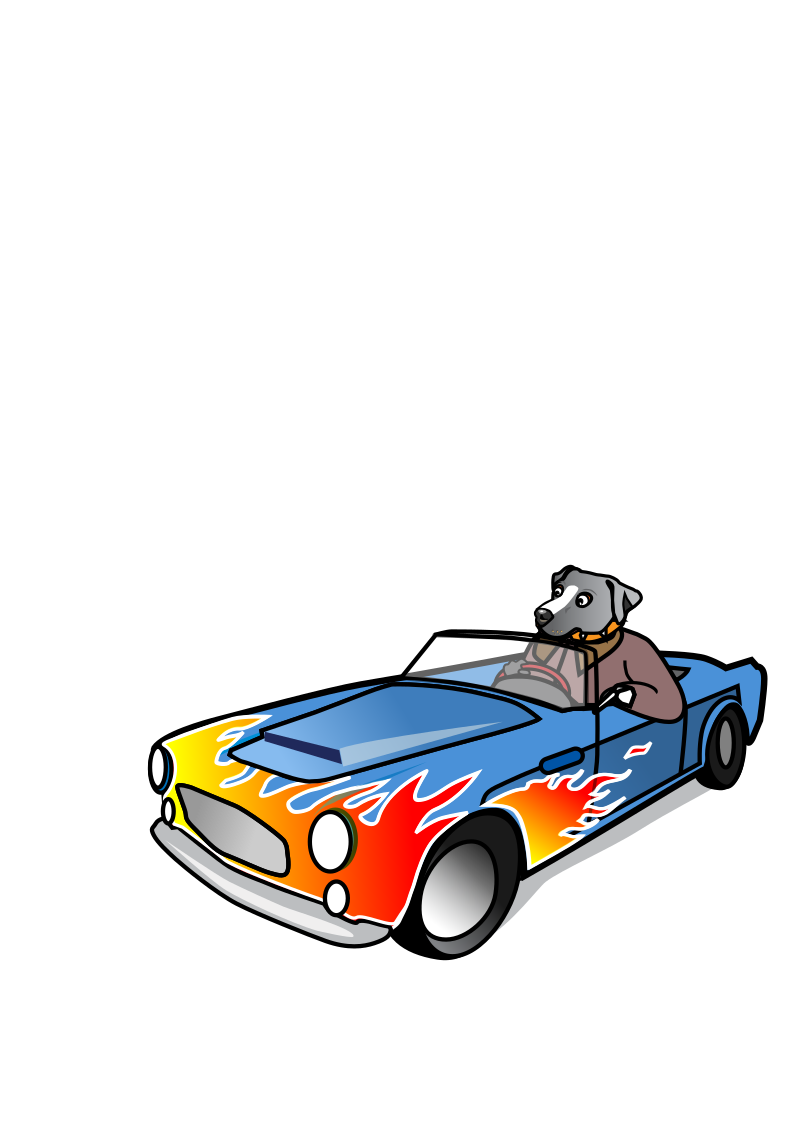 Dog in Sports Car by wildchief - A cartoon of a dog driving in a  sports / performance car