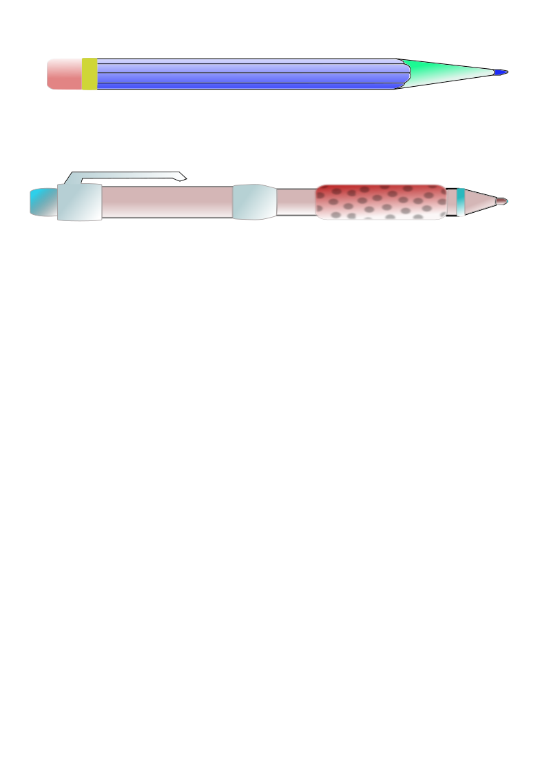 pencil and pen by cprostire - A pencil and a pen.