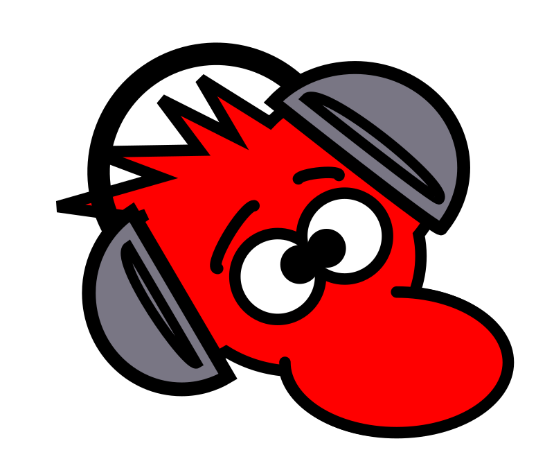 Mouse by PeterM - A red mouse cartoon with headphones on.