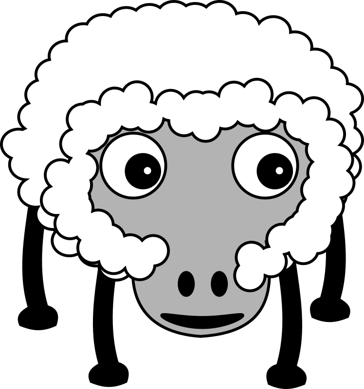 Sheep002 by TomBrough - A fluffy cartoon sheep with dark face.