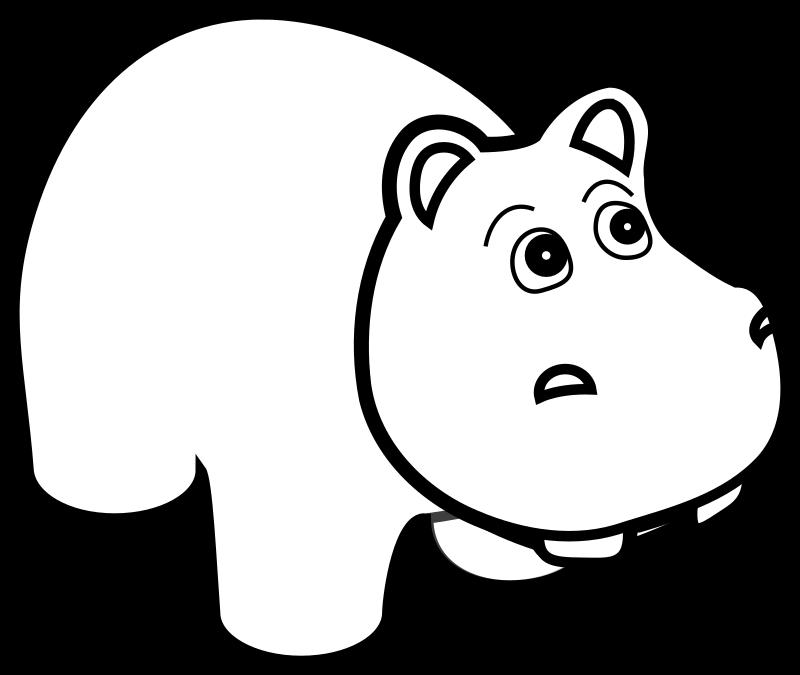 Line Art Png : Clipart hippo line art