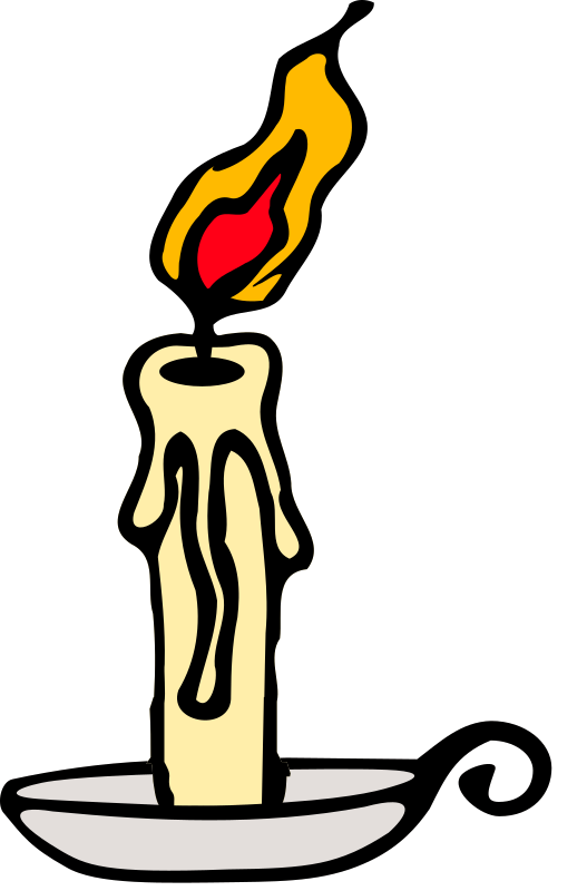 Candle by LostInBrittany - A flaming candle The SVG has been simplified from original source, points edited by hand, saucer, candle and flame have been made different objects, and a global streamlining has been performed. My first OpenClipArt submission