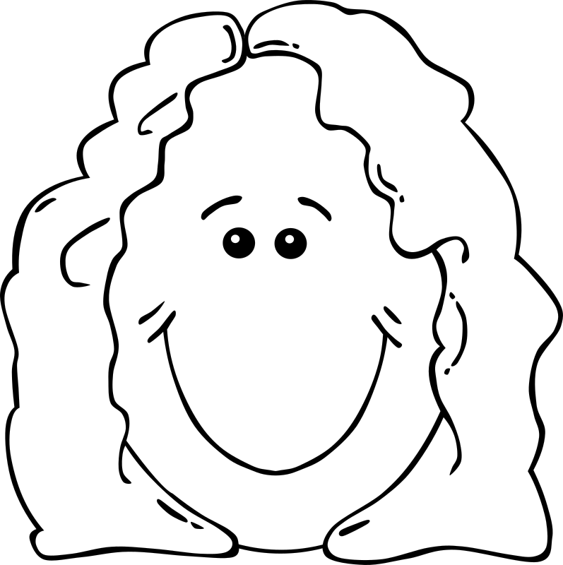 Lady Face from World Label by Gerald_G - A lady's smiling face as outlines.