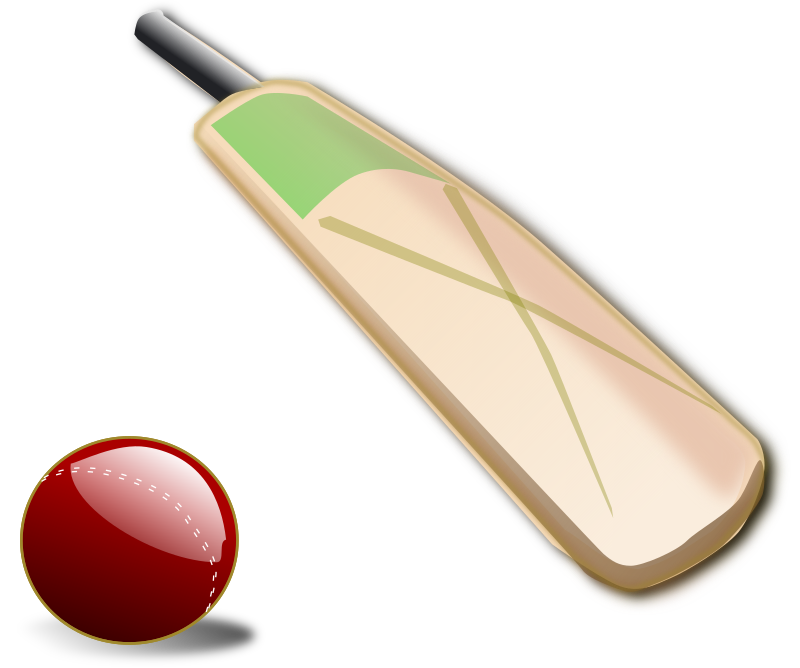 Clipart - Cricket ball and bat