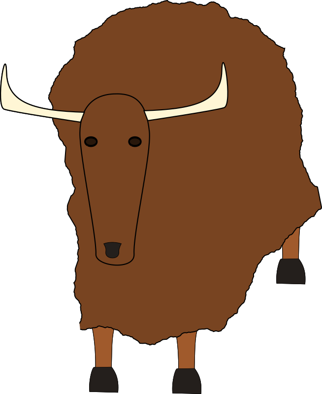 yak by evilestmark - Made in Inkscape.  Fractalized the body path to make it look furry at the price of much greater complexity.  There were no yaks on OCAL, now there is one.