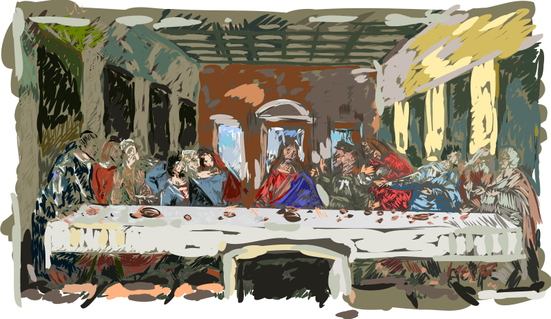 Last Supper by shokunin - simplified Last Supper by da Vinci, full version of tracing was to large to upload.