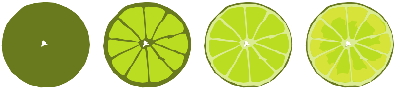 Progressive limes by gingercoons - A series of limes, showing the progression of the drawing