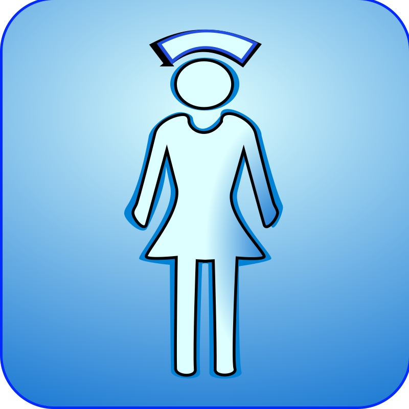 nurse_icon_glossy_128x128 by netalloy - A nurse icon over a blue background.