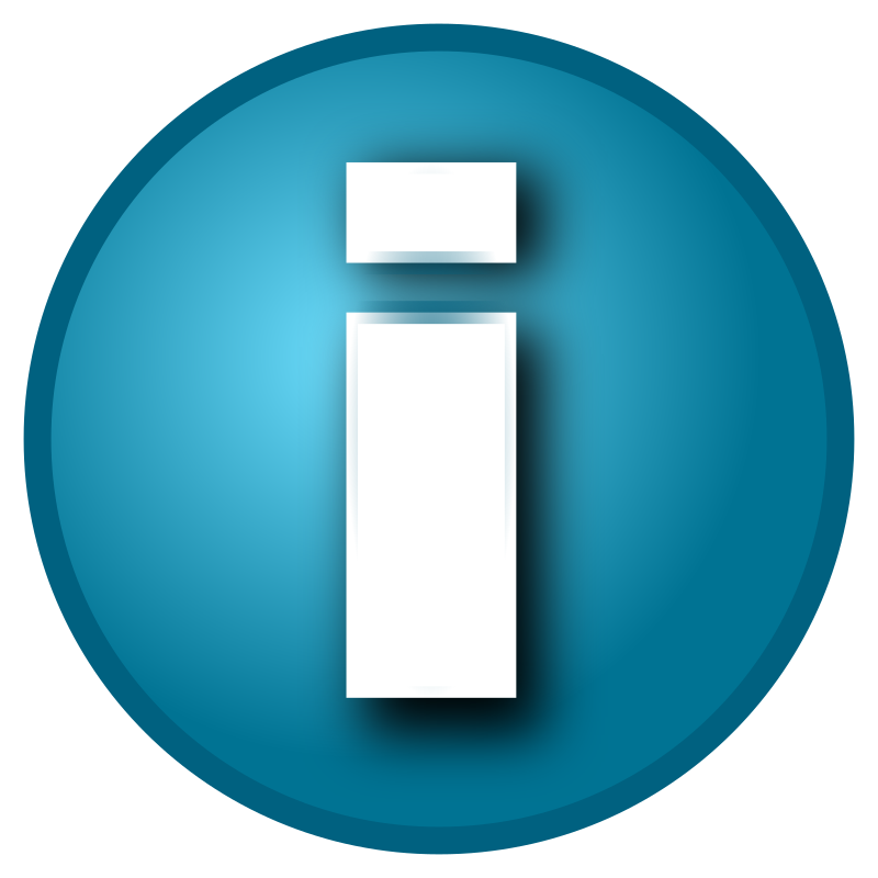 "Small blue 'i' info button by TzeenieWheenie - Circular blue button labeled ""i"" - typically an info/properties buttton. Note: uses Inkscape gaussian blur filter, so it doesn't look quite the same in the browser as it does in Inkscape."