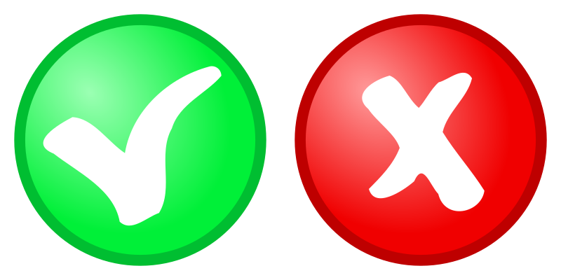 Red cross and green tick icons