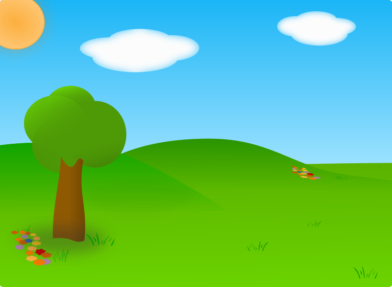 Cartoon Landscape by carlitos - A simple summer landscape featuring green grass, a blue sky and white clouds.