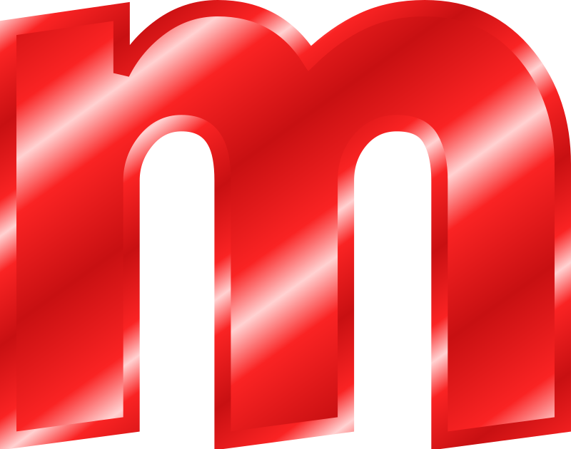 small letter m clipart effect letters alphabet red