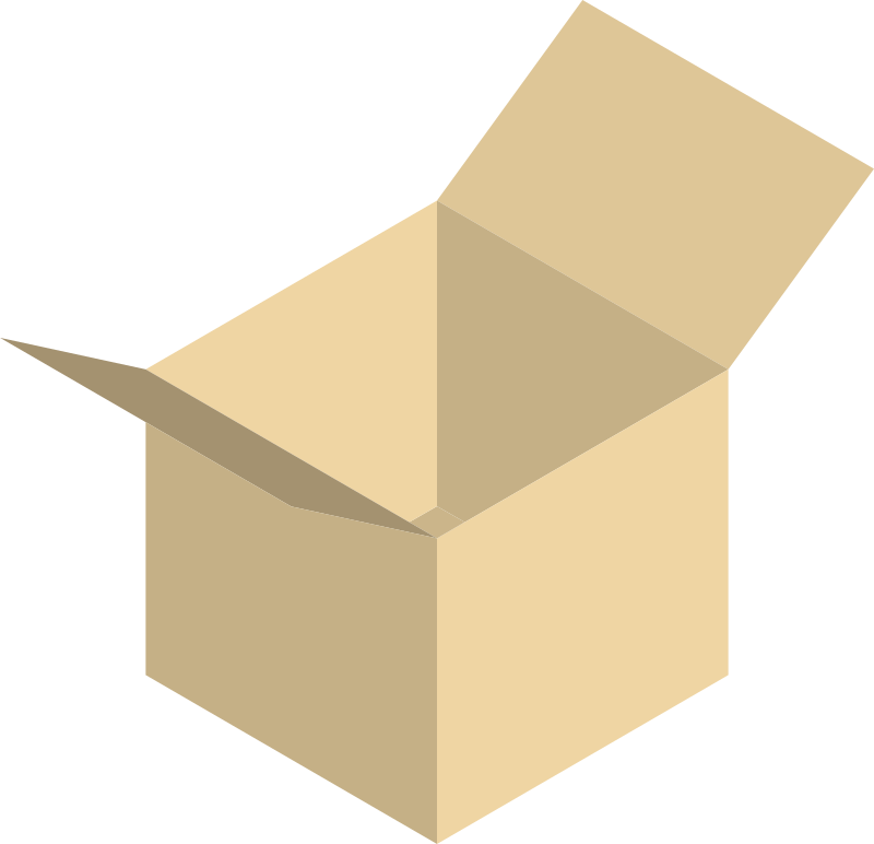 Open box by Kenney - Open box in isometric view