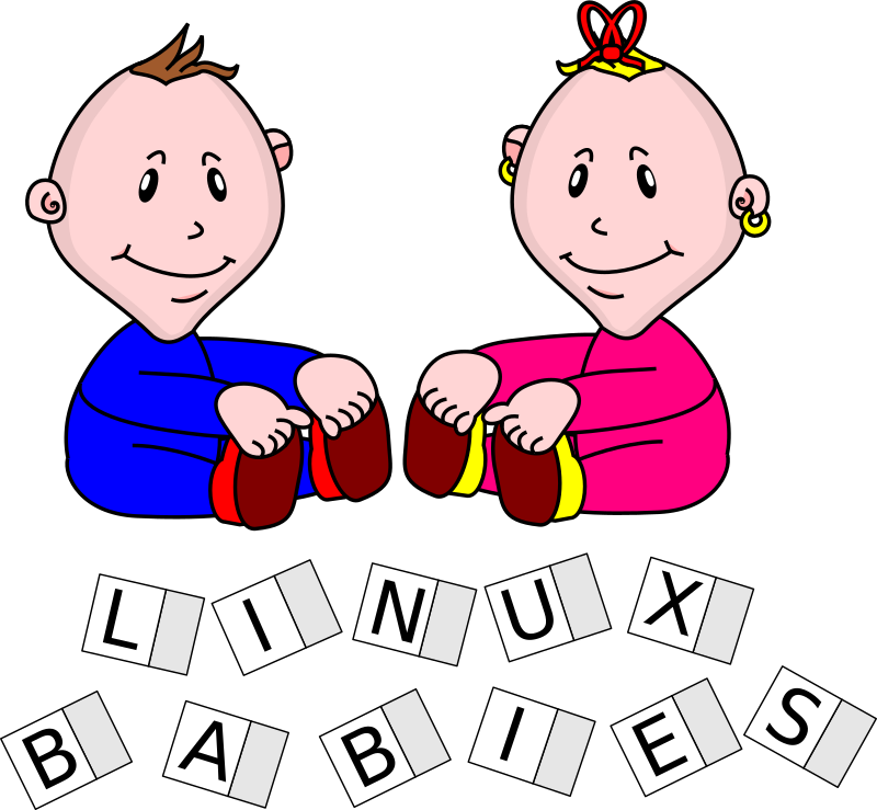 "LinuxBabies by TomBrough - Now we have BabyBoy and BabyGirl lets introduce them. BabyGirl can be flipped left to right so that she faces BabyBoy. That wasn't much work so I added the blocks ""just for fun""."
