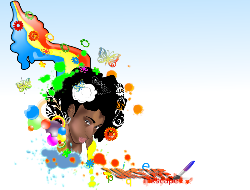 Black-Woman-rainbow by ikebanto - Black woman over a rainbow.