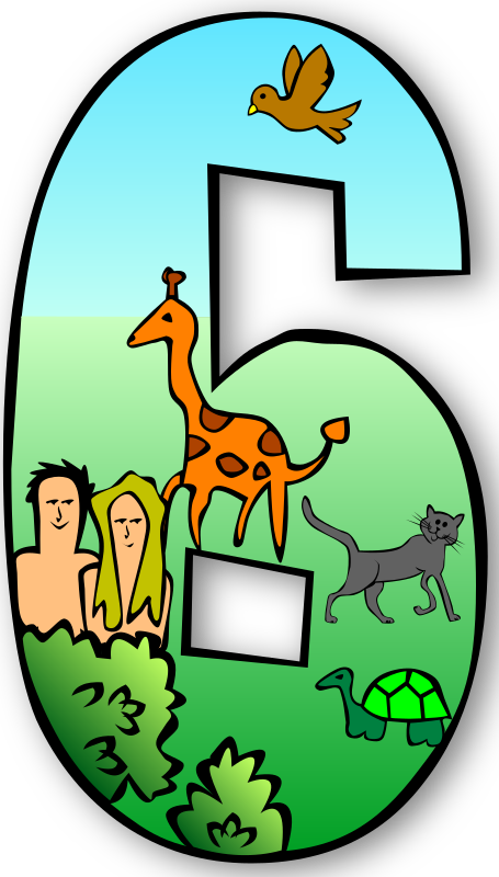 Creation Days Numbers by Gerald_G - The days of creation - completed originally to fulfill a request on the OpenClipart wiki.