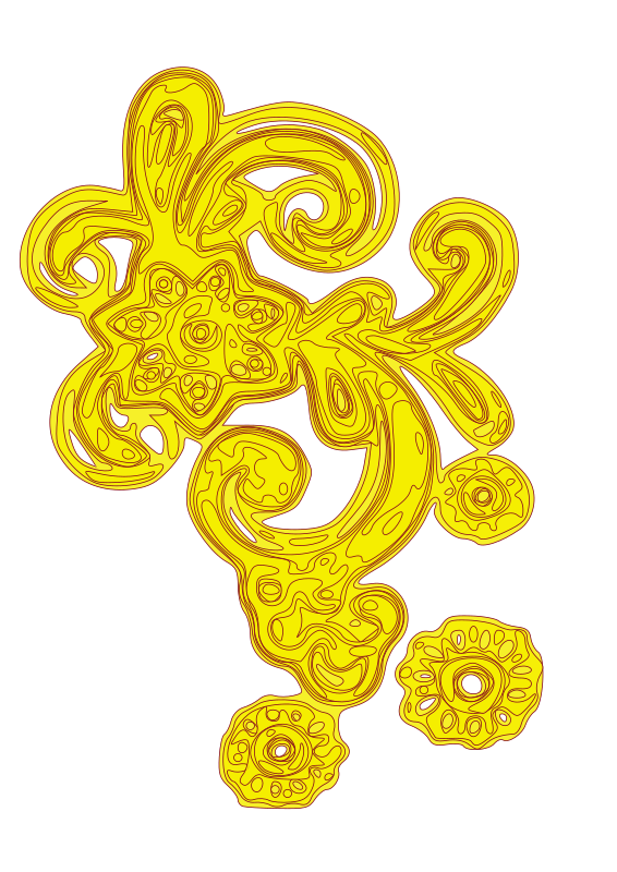 DECOR-25 by waferd - Yellow ornament with floral shapes.