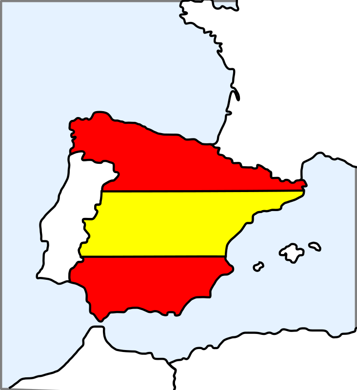 Spain (map and flag) by mireille - a map where Spain is shown with its map