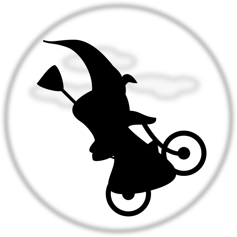 WitchOnABicycle by TomBrough - Witch on a bicycle silhouetted against the moon. ET Style.