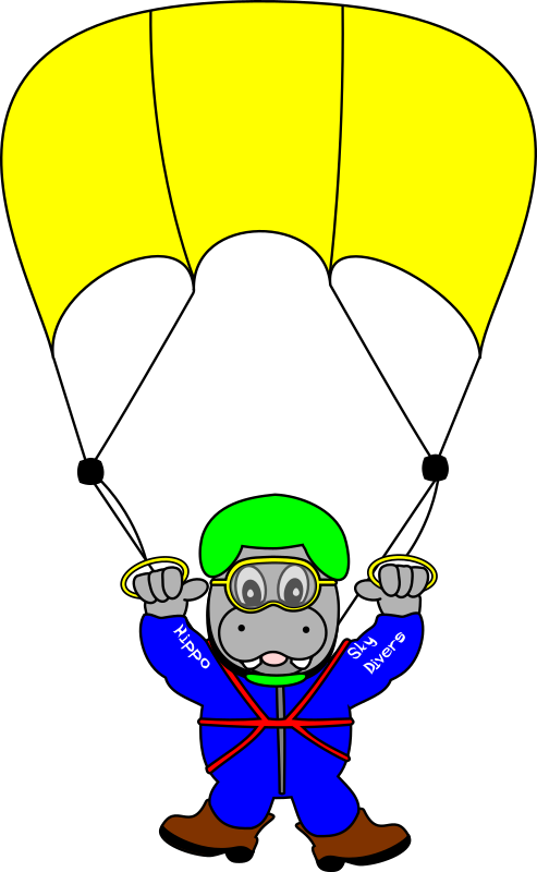 SkyDiverHippo by TomBrough - A cartoon sky diver hippo out having fun.