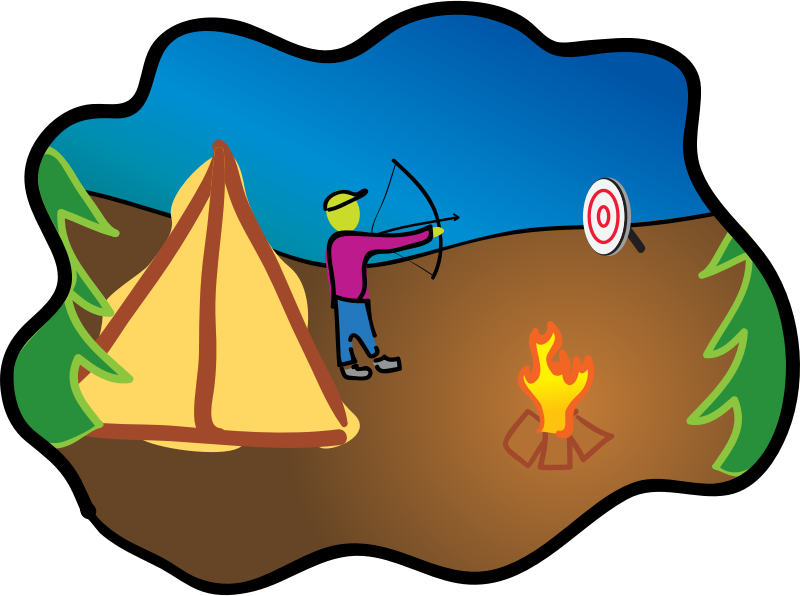 Happy Camping Archery by Dug - Camping scene with bow and arrow