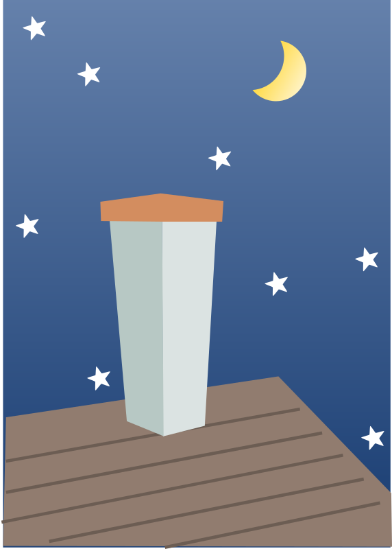 Night Chimney by mikalaari - A chimney on a roof against a night sky with stars and a waxing moon.
