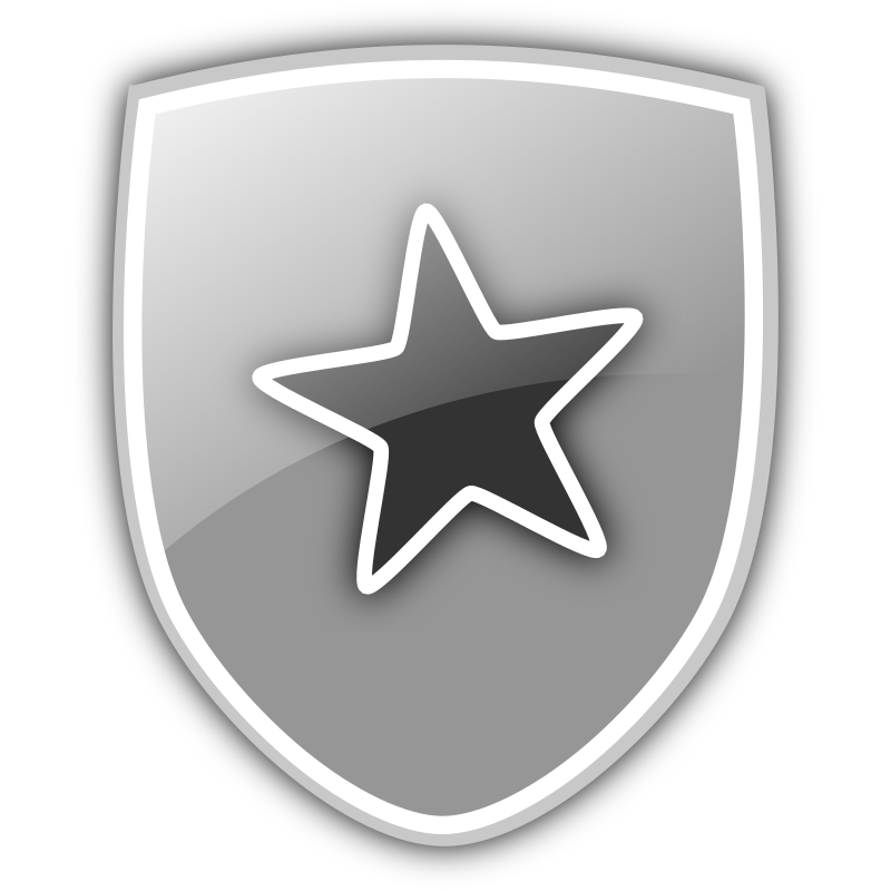 Shield Icon by marricklip14 - Here is an icon depicting a shield bearing a star. Use it to depict security, strength etc. Easily modifiable to incorporate a different emblem such as a sword. Enjoy!