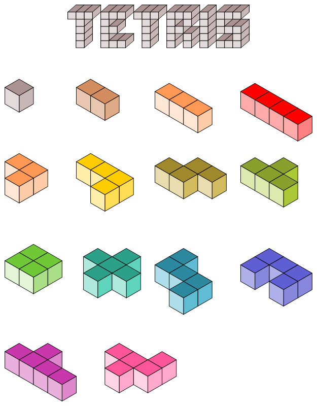 3D Tetris blocks by filtre - Axonometric's 3D Tetris blocks