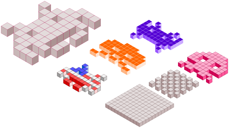 Space Invaders 3D blocks by filtre - Axonometric's space invaders 3D blocks.