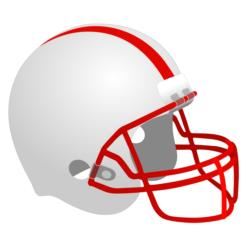 Football Helmet by Simanek - A standard american football helmet with a white and red color scheme.