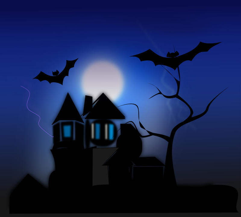 spooky house by netalloy - A spooky house or manor with bats flying around.