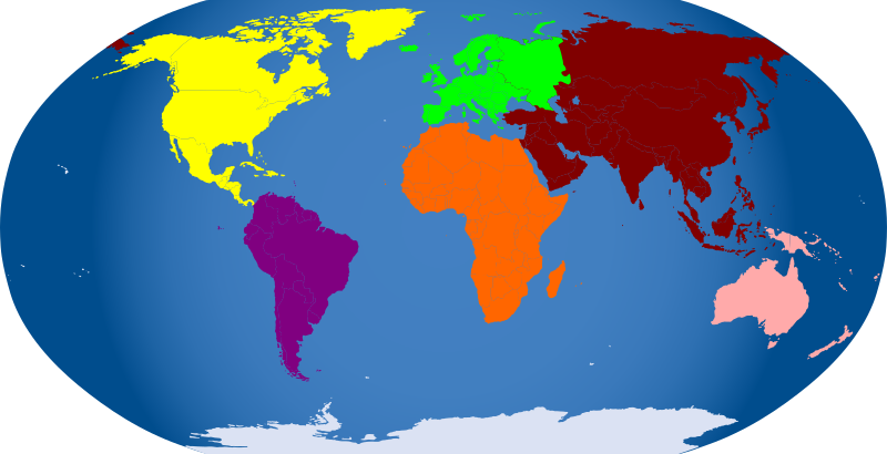 Continents colored by Iyo