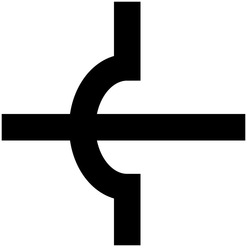 Electronic Circuit Crossing Symbol by vermeil - A symbol for unjoined crossing of electronic wires.