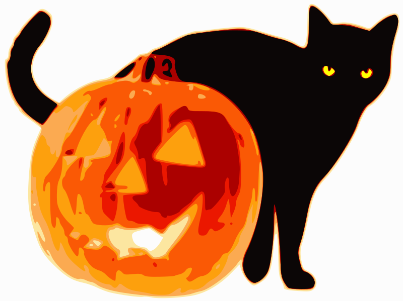 Cat and Jack-O-Lantern by user4096 - Cat and jack-o-lantern, derived from a composite of two posterized images.