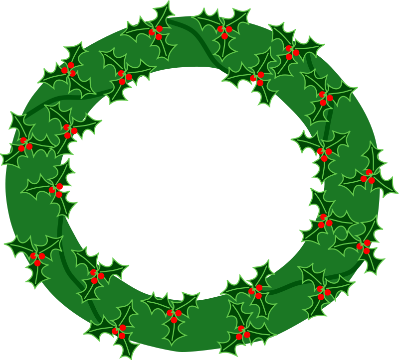 evergreen wreath with large holly 01 by Anonymous - Originally uploaded for OCAL 0.18 by Nathan Eady
