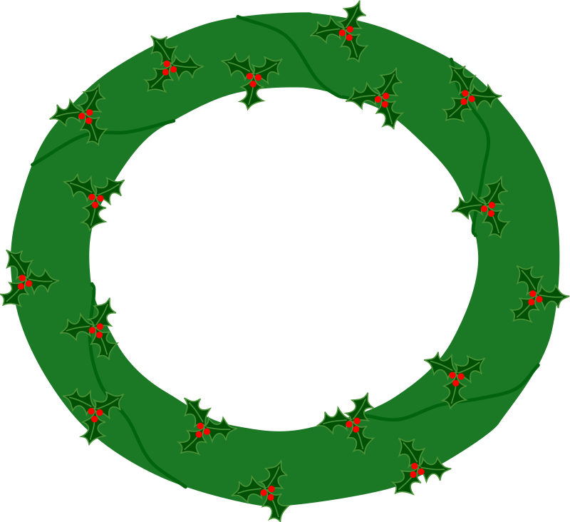 wreath of evergreen with red berries 01 by eady