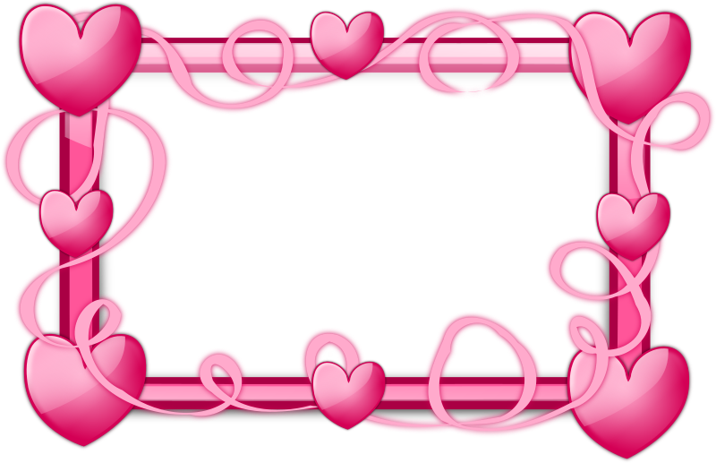 Pink Hearts Frame by inky2010 - Glossy Transparent Frames