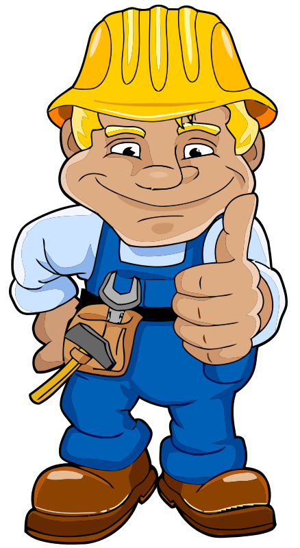 Blue Worker by bugmenot - A worker with a hard hat doing the thumbs up pose.