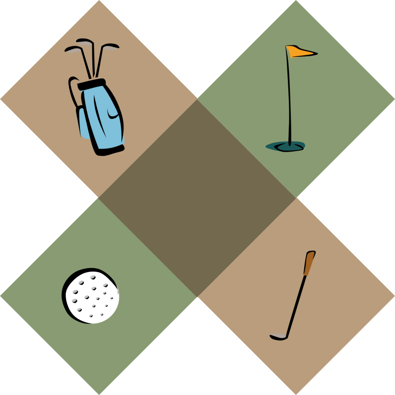 Golf Decoration by Gerald_G - Golf Decoration with a golf bag, a golf ball, a flag and a golf club.