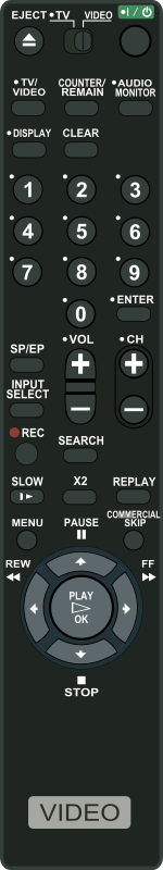 VCR Remote Control by Startright - A VCR Remote Control