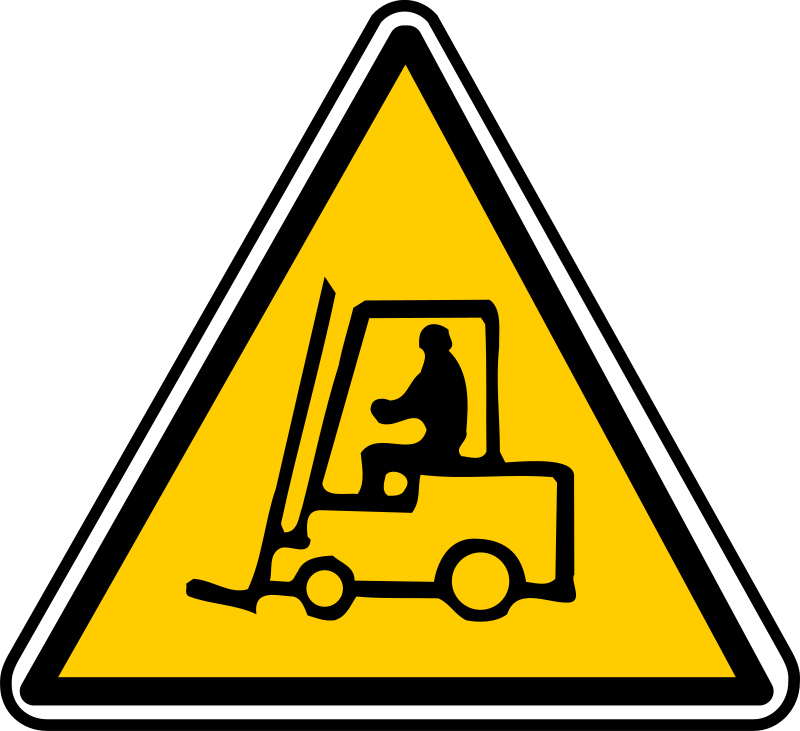 Forklift Warning Sign by yves_guillou - Triagular warning sign for a forklift, with more round illustration.