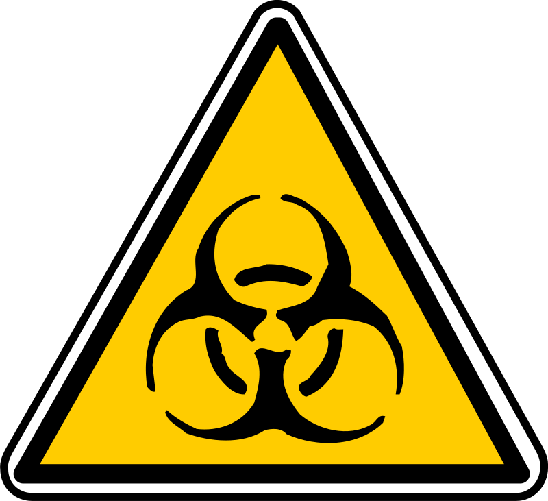 warning by yves_guillou - Triangular warning sign for biohazard.