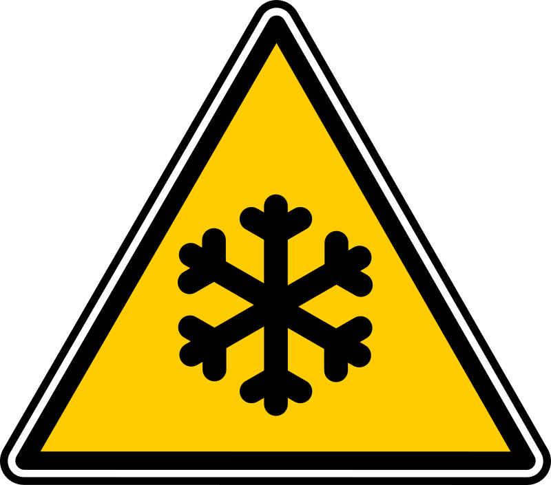 warning by yves_guillou - Triangular warning sign for freeze.