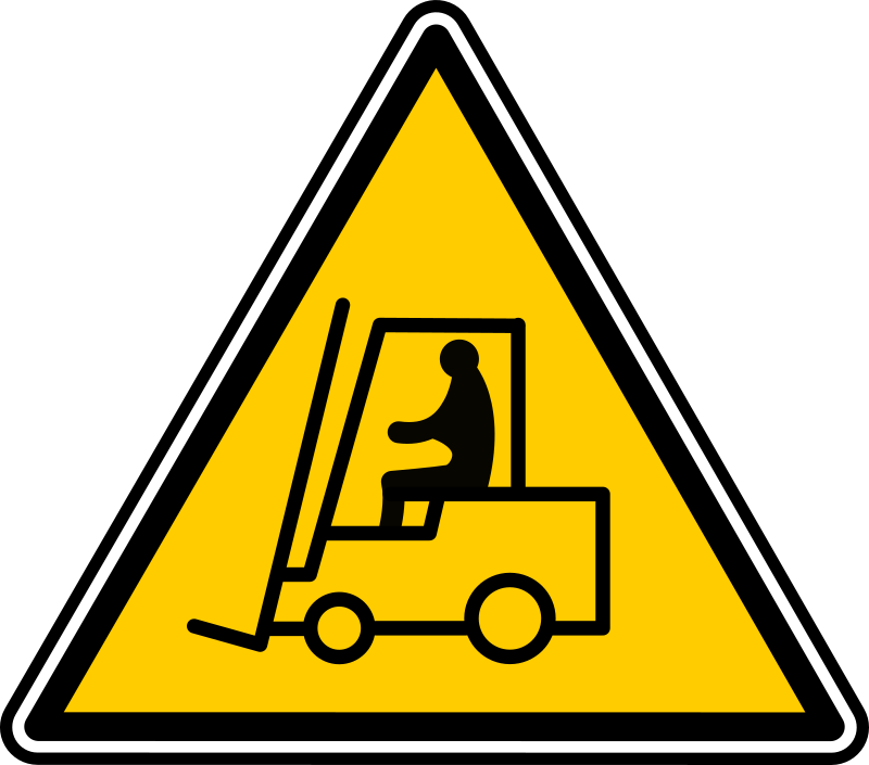 Forklift Warning by yves_guillou - Triangular warning sign for a forklift, updated with more solid lines.
