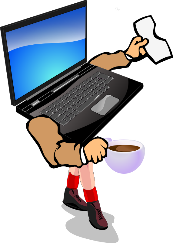 "Walking Laptop by chovynz - This is a conceptual clipart for the very cool mobility ""feature"" of laptops.