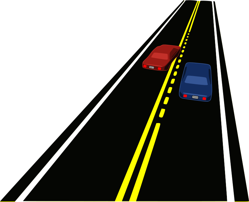 Passing Zone by mazeo - A perspective view of a passing zone on a paved roadway. One car is passing another.