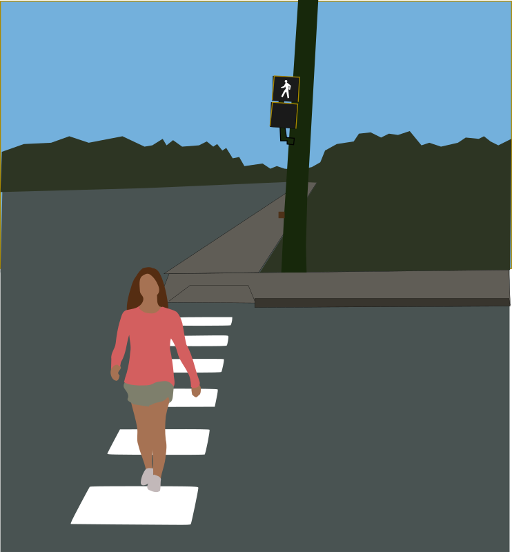 "Crosswalk by mazeo - A woman crosses a road on a crosswalk. Walking signal symbol is from Manual on Uniform Traffic Control Devices (MUTCD), Millennium Edition with incorporated Revision Number 1 changes, dated December 28, 2001; ""Any traffic control device design or application provision contained in this Manual shall be considered to be in the public domain. Traffic control devices contained in this Manual shall not be protected by a patent or copyright, except for the Interstate Shield.""; http://mutcd.fhwa.dot.gov/HTM/millennium/12.28.01/introduction/MUTCD_intro.htm"