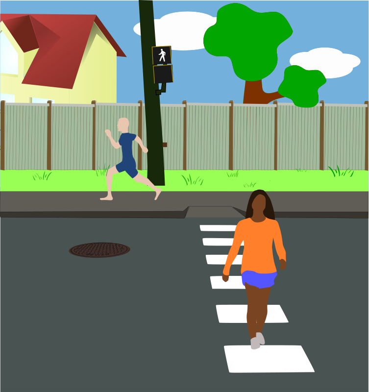 Neighborhood Street by mazeo - A neighborhood street scene with pedestrians. Walking signal symbol is from Manual on Uniform Traffic Control Devices (MUTCD), Millennium Edition with incorpora